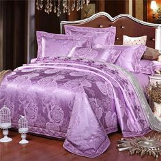 Silk Cotton Luxury Bedding Set King Size Queen Bed Set Lace Duvet Cover