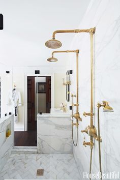 A bathroom built for two is super-efficient while taking design cues from the past. Designer Bryan Joyce gave this room in a 1750 New Jersey farmhouse a sense of history. - HouseBeautiful.com