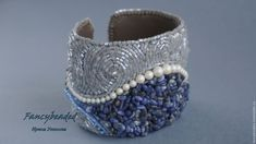 Купить Вышитый бисером браслет Шторм - серый, синий, содалит, вышитый браслет, браслет