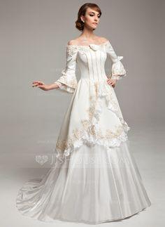 A-Line/Princess Off-the-Shoulder Sweep Train Taffeta Satin Wedding Dress With Lace Beading Flower(s) (002017530) - JJsHouse