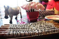 Zebra pretzel sticks for pink zebra party by Charleyp Pink Zebra Birthday, Pink Zebra Party, Zoo Birthday, 1st Birthday Parties, Birthday Ideas, Zebra Print Party, Safari Party, Jungle Party, Safari Theme