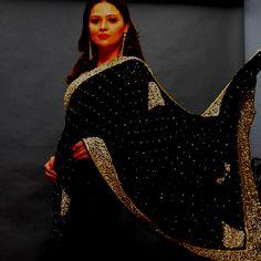 Black Swan - Pure Chiffon with zardosi, stone and kundan work.