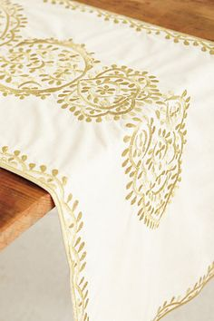 Gold-Embroidered Table Runner | a gorgeous addition for your Thanksgiving table | #Anthropologie | #PinToWin