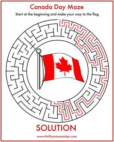 Fun Easy Canada Day Maze - Thrifty Mommas Tips Canada Day 150, Canada For Kids, Canada Day Crafts, Canada Day Party, Canadian Things, Canada Holiday, World Thinking Day, Remembrance Day, Colouring Pages