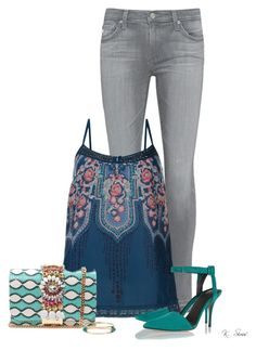 """Teal"" by ksims-1 ❤ liked on Polyvore featuring AG Adriano Goldschmied, Monsoon, Alexander Wang, GEDEBE and Ashley Pittman"