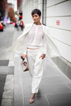 In Neutral By Micah Gianneli // street style inspiration Estilo Rihanna, Rihanna Mode, Rihanna Style, Fashion Week, Look Fashion, Trendy Fashion, Runway Fashion, Outfits Blanco, Micah Gianneli