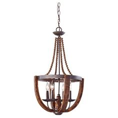 Feiss Adan Collection F2753/4RI/BWD,4 - Light Chandelier,Rustic Iron / Burnished Wood