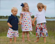 d78d47f92 BROTHER SISTER SET girl's flutter sleeve dress with matching boys shorts in  sailboat fabric - many sizes