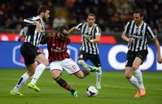 Giampaolo Pazzini of AC Milan #11 in action during the Serie A match between AC Milan and Juventus at San Siro Stadium on March 2, 2014 in M...