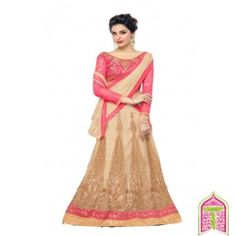 SemiStitched - Pink With Gold Color Bloosom Magic 2 in 1 Designer lehanga choli - By Thambi shopping