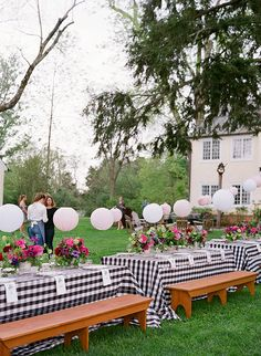Southern Spring BBQ in Charlottesville, Virginia Snippet & Ink || Wedding or rehearsal dinner set up with paper lanterns