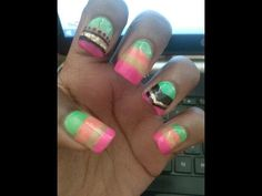 Neon Rainbow Tribal Nails Tutorial (Acrylic Nails) - YouTube  #nail tutorials #rainbow nails #acrylic nails #tribal nails #fall nails #nail art