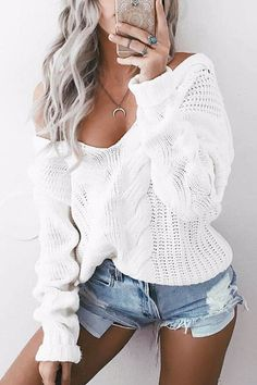 V-neck Long Sleeves Causal Jumper - US$23.95 -YOINS