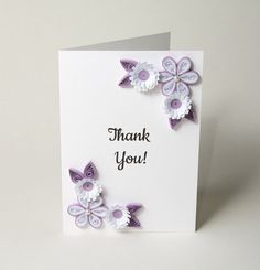 Unique and Elegant Thank You Card Quilling by PaperParadisePL