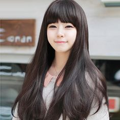 Korean Fashion Slightly Curled Long Straight Wig