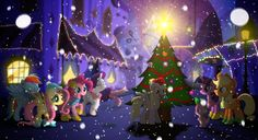 The First Snow - MLP Mane 6 Christmas Wallpaper by allwat on ...