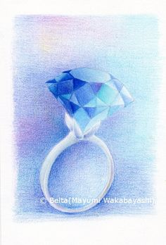2015_01_08_ring_03_s blue ring  It's a piece of sea.  for this drawing I used : Holbein artists colored pencils Stonehenge paper  © Belta(Mayumi Wakabayashi)