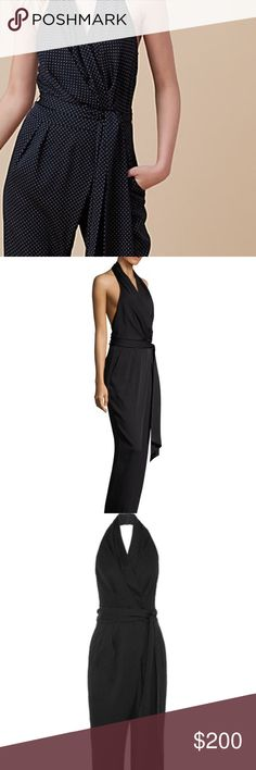 "⚜️DVF⚜️ Sleeveless Silk Blend Wrap Jumpsuit⚜️ Tiny polka dots add a fun note to a stretch-silk jumpsuit with a faux-wrap halter bodice cut to show off a little skin. Look both sexy and cute in this soon-to-be favorite summer look! -57"" length; 28"" inseam; 17"" leg opening (size 8) -Hidden side zip with hook-and-bar closure; hook-and-eye closure behind neck -Surplice V-neck -Sleeveless -Unlined -95% silk, 5% spandex -Dry clean -Imported -Individualist Diane von Furstenberg Other"