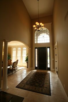 2 story foyer with chandelier