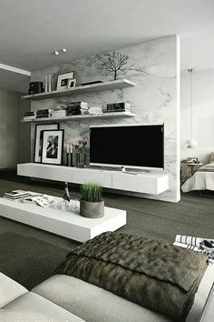 Interior design ideas for a luxury living room decor. On this living room you can see extraordinary furniture design pieces. Living Room Modern, Home And Living, Living Room Designs, Modern Bedrooms, Tv Wall Ideas Living Room, Living Room Tv, Modern Living Room Wallpaper, Living Room Ideas Modern Contemporary, Small Living