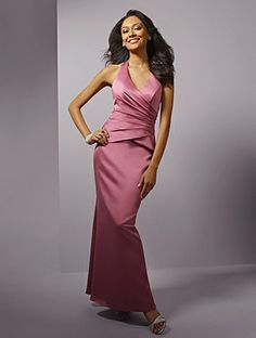 Mermaid Halter Dropped Waist Pleated Long Satin Pink Mother of The Bride Dress