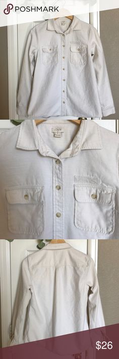 J.Crew Factory Field Shirt Cream colored button down Field shirt. 100% cotton.  Machine wash. Extra button intact. Slight snag on back (see photo). Wear consistent with normal wear and laundering. Smoke free home. J. Crew Factory Tops Button Down Shirts