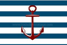 Free Printable Nautical Art - Blue Stripe Red Anchor - www.foxhollowcottage.com
