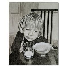 """LITTLE BOY child pouting at breakfast table colored pencils painting Sandrine Curtiss ORIGINAL Art 8x10"""" by Sandrinesgallery,"""