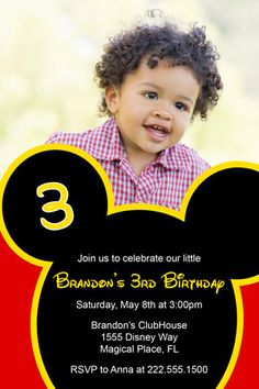 Mickey Mouse Birthday Party Invitations Inspired by by Honeyprint