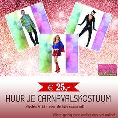 TIP VAN DE WEEK!   *  Huur je Carnavals Kostuum voor slechts € 25,- voor de gehele carnaval. Incl. eventuele accessoires!  *  Ruime keuze uit circa 7.000 stuks kleding!  *  Wij zijn er deze week iedere dag van 10.00-21.00, zaterdag van 10.00-17.00 uur!  *  #verkleedhuis #verhuur #carnaval