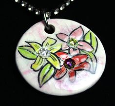 Flower Sparkle Surly Necklace with Multicolor  Swarovski by surly, $48.00