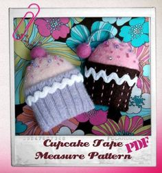 Felted wool sweaters (or craft felt) are used to make this sweet cupcake tape measure.