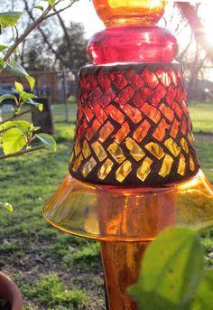 yard art totems | Glass Yard Art Totem Sculpture Orange Yellow Red Sun Fire Design
