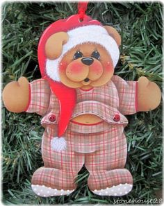 HP Teddy Bear Santa Hat Ornament | eBay