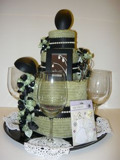 Bridal Shower Towel Cake-Using the Brides Wedding Colors.