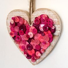 Hanging wood button heart decoration for home by mollymoodesign, £18.00