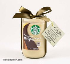 Listing is for one LARGE candle made from the 13.7 oz Starbucks Frappuccino bottle. The majority of the other Frapp bottle candles on sale in the marketplace is made from the much smaller 9.5 oz. bottle. Know and understand what you are buying. Our Starbucks Frappuccino candle is the