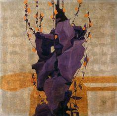 """""""Fleurs stylisées sur fond décoratif"""" 1908 par Egon Schiele (1890-1918)"""