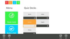 FLIP // FLIP for Windows 8 app for Windows in the Windows Store. FLIP is a free flashcard program designed to be a simple, yet functional, quizzing program. Even in this early stage FLIP is a powerful learning tool. FLIP gives the user the ability to create, review, quiz and examine the results of custom quizzes.