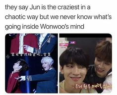 Seventeen Jun, Seventeen Memes, Seventeen Wonwoo, Seventeen Album, Funny Kpop Memes, Funny Photo Memes, Song Lyrics Wallpaper, Seventeen Wallpapers, Pledis 17