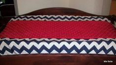 Navy Chevron Red Minky Changing Pad Cover on Etsy, $30.00