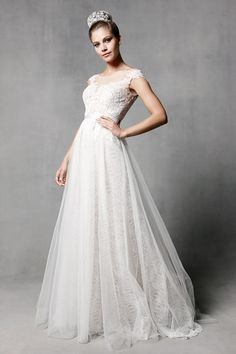 Watters 'Farah' wedding dress with lace cap sleeves, illusion neckline and layered lace and tulle skirt