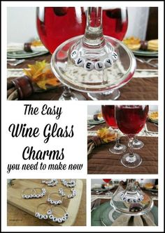 The Easy Wine Glass Charms you need to make now. Easy personalized wine glasses.