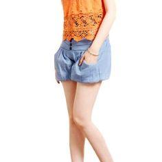 Allegra K Women Elastic Waist Fake Pockets Back Denim Pumpkin Shorts Blue S Allegra K. $11.63