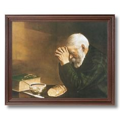 Framed Cherry Daily Bread Man Praying At Dinner Table Grace Religious Pictures Art Print - prints incorporated deal funny Holy Mary, Mealtime Prayers, Man Praying, Praying Hands, Thanksgiving Prayer, November Thanksgiving, Vintage Thanksgiving, Religious Pictures, Religious Art