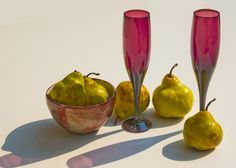 Still life with pears and wine glasses