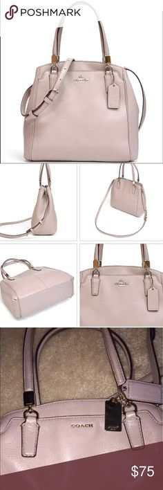 """COACH MINETTA SMALL CROSSBODY BAG Beautiful style. Buff color (beige/taupe/light silver) with lavender interior. Preloved in good used condition exterior. Corners and handles show some wear. Interior is clean. Excellent bag to use for office and for daily use. Size 10""""x7""""x4"""". Pet smoke free home.  AUTHENTIC❣️LEATHER ❣️FAST SHIPPING!❣️MAKE AN OFFER  Please see my other listings. Bundle & save.. I have over 200 different  listings with more to come.🎯 Coach Bags Crossbody Bags"""