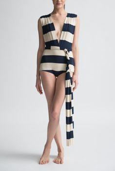 Big French Stripe Wrap Swimsuit or Bodysuit