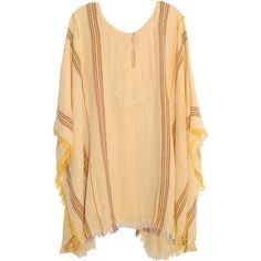 Jen's Pirate Booty Beach Bum Kaftan in Lemon ($130) ❤ liked on Polyvore featuring tops, cardigans, outerwear, jackets, beach caftan, jens pirate booty, kaftan tops, caftan tops and beach kaftan