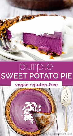 Vegan Purple Sweet Potato Pie with Coconut Almond Crust SAVE FOR LATER! Vegan Purple Sweet Potato Pie is as delicious as it is pretty. It's made with purple yams which give it a totally natural bright purple color. It's a showstopper! Vegan Treats, Vegan Foods, Paleo Vegan, Vegan Sweet Potato Pie, Gateaux Vegan, Purple Sweet Potatoes, Vegan Dessert Recipes, Pie Recipes, Cookies Et Biscuits